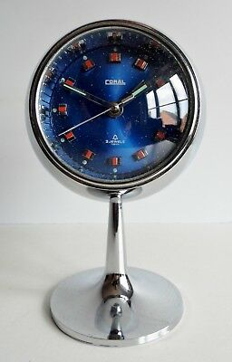 RARE 1960's MID-CENTURY CORAL BALL SHAPED PEDESTAL CLOCK - SPUTNIK / ATOMIC AGE