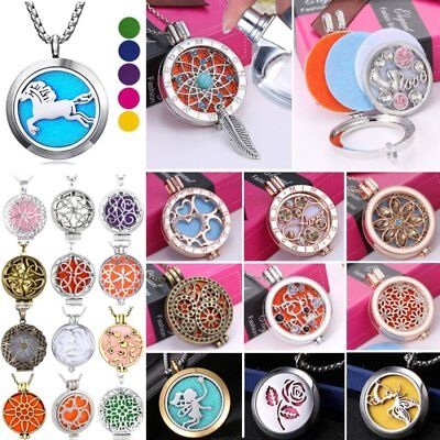 Aromatherapy Essential Oil Diffuser Locket Pendant Necklace Random 5/3pcs Pads