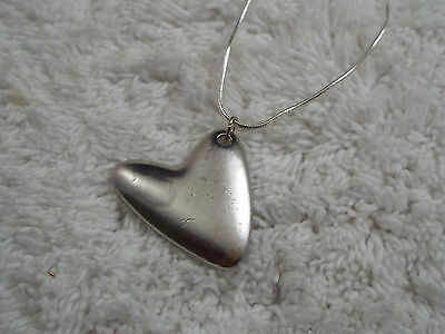 Silvertone Abstract Heart Pendant Necklace  (C34)