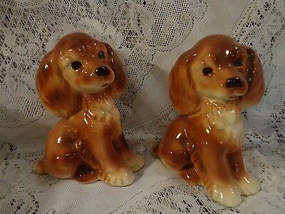Vintage Pair Ceramic Cocker Spaniels Dogs 1950 1960 Shabby Chic Figurines