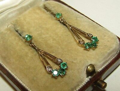 Elegant, Delicate, Art Deco, 9 Ct Gold Earrings With Emerald And Diamonds