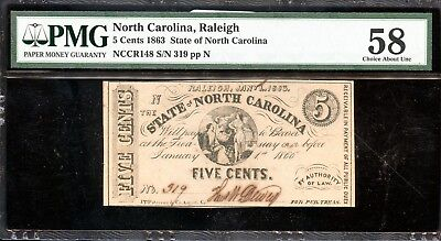 1863 PMG 58 Choice About Unc. North Carolina 5C Fractional Currency Note FB143