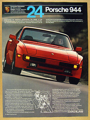 1984 Porsche 944 'Design objective' red car photo vintage print Ad