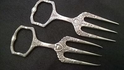 2 x Antique Art Nouveau Silver Plated Three Prong Meat Carving Fork/Bread Forks