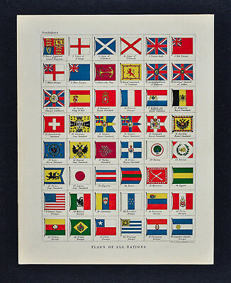 1895 Johnston Map Flags Nations of the World United Kingdom France United States