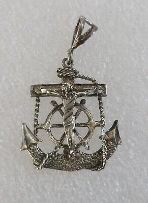 Vintage Mariner Nautical Crucifix Cross with Anchor Sterling Silver Pendant