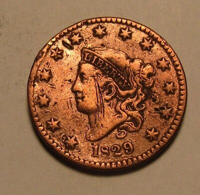 1829 Coronet Head Cent Penny - Circulated Condition Cleaned - 49SA