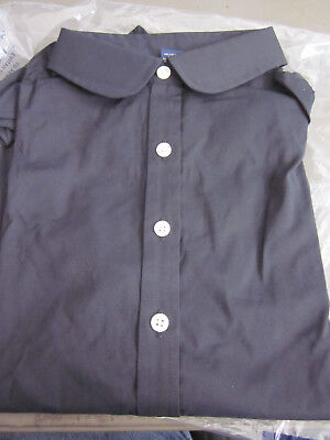 3e65aa06f0a Lands End Womens 3/4 Sleeve Round Collar Black Tunic Blouse Shirt Size