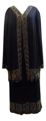 Roaman's 3pc evening party skirt suit black with gold beading MOB Sz 26W 3X