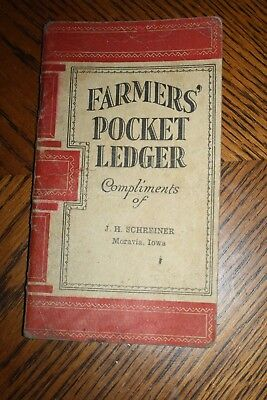 Antique 1925 John Deere Collectible Old Book Farmer's Pocket Ledger Moravia Iowa