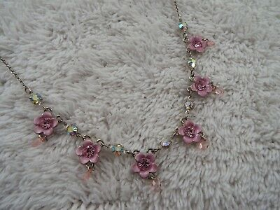 Silvertone Rhinestone Pink Flower Necklace (B30)