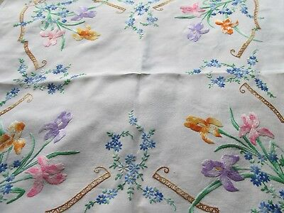 Vintage Hand Embroidered Table Cloth-BEAUTIFUL HEAVILY WORKED FLAG IRISES