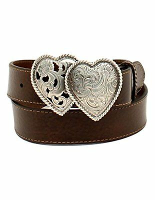 Ariat Western Womens Belt Leather Two Heart Buckle Choc Brown A1523002 Small