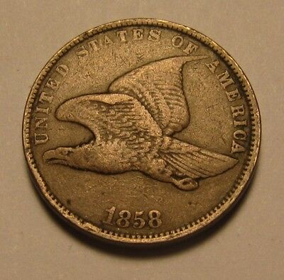 1858 Small Letters Flying Eagle Cent Penny - VF to Extra Fine Condition - 33SA-2