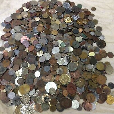 Huge 10 lbs of Damaged & Cull  FOREIGN / World Coins & US tokens WYSIWYG LOT #50