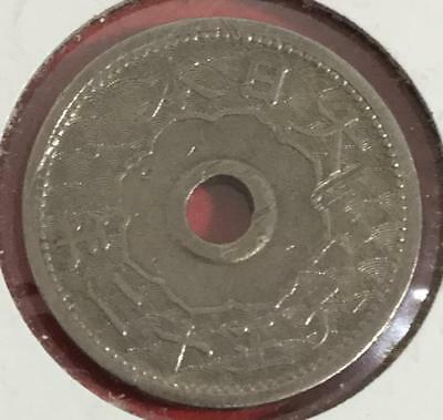 1923 Japan SILVER 10 Sen Year 12! Old Japanese Coin!