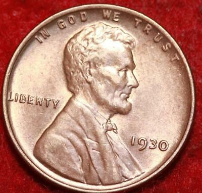 Uncirculated 1930 Red Philadelphia Mint Copper Lincoln Wheat Cent