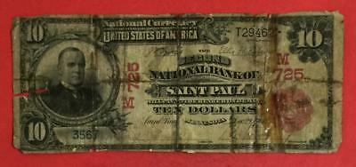 "1902 $10 RED Seal ""LARGE SIZE"" Currency St. Paul Minnesota! Hard to Find Red!"
