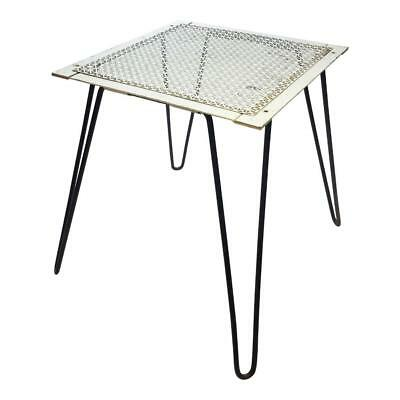 Vintage METAL SIDE TABLE plant stand hall hairpin planter mid century modern 50s