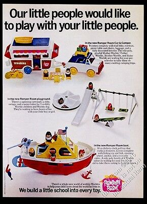 1972 Romper Room Weebles boat car playground photo Hasbro vintage print ad