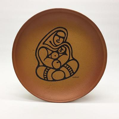 Blue Mountain Art Pottery BMP Canada Mother Child Inuit Eskimo Apakark Plate