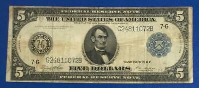 """1914 $5 Blue LARGE SIZE Currency Federal """"BIG 7-G Chicago VG/FINE! Old Currency"""