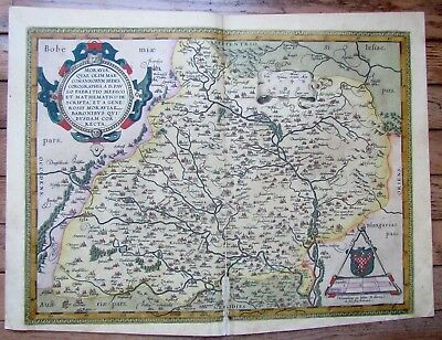 "Late 16th- early 17th CENTURY ANTIQUE MAP - MORAVIA HUNGARY 20 x 15"" ORIGINAL"