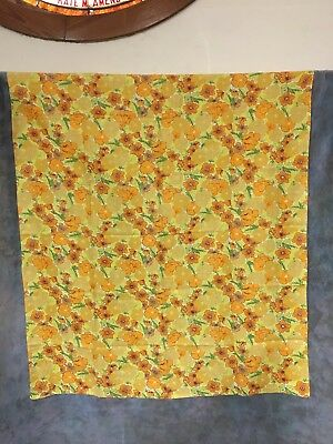 """VTG 1970s Floral Tablecloth Gold Orange Yellow FLOWERS 68"""" x 52"""""""