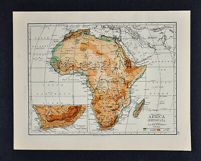 1895 Johnston Map - Physical Africa - Cape Colony South Sahara Desert Mountains