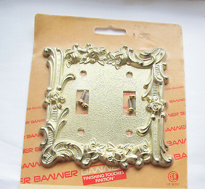 Vintage Double Toggle Brass Coloured Rose Floral Switch Plate Cover