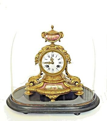 Antique French Ormolu Striking Mantel Clock Sevres Porcelain, Glass Dome & Stand