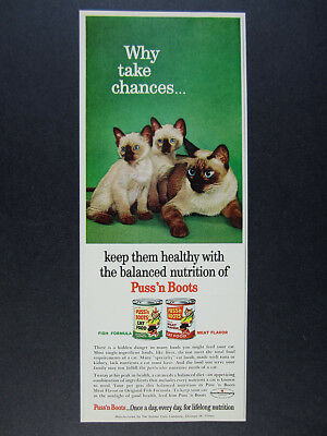 1963 Siamese Cat Kittens photo Puss'n Boots Cat Food vintage print Ad
