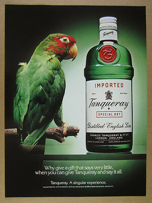 1988 Tanqueray Gin green macaw parrot & bottle photo vintage print Ad