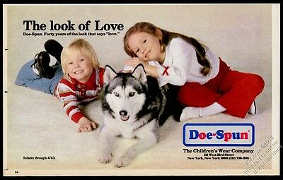 1960 Siberian Husky Alaskan Mamalute & kids photo Doe-Spun clothes print ad
