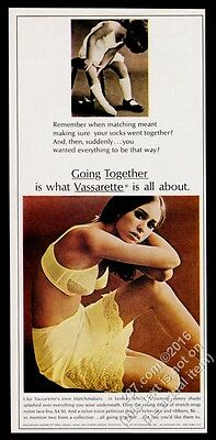 1967 Vassarette lingerie woman in yellow bra petticoat photo vintage print ad