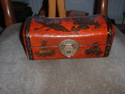 Antique / Vintage Chinese / Asian Box Red Lacquer