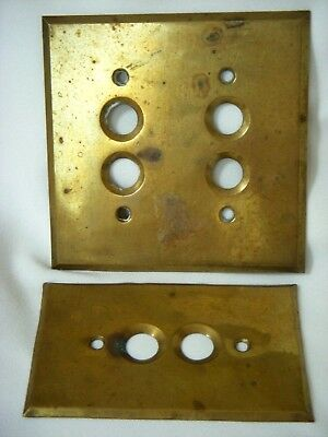 Vtg Brass 1 & 2 Gang Double Round Push Button Electrical Switch Wall Cover Plate