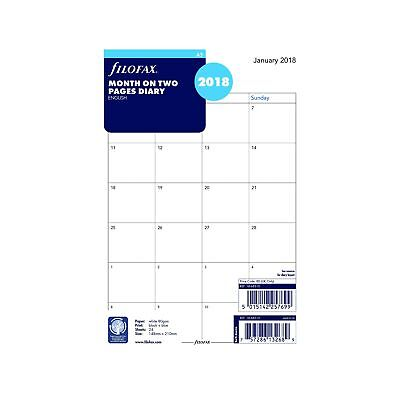 Filofax 2018 A5 Month to View English Refill, Monthly, Jan 2018- Dec 2018, 8.25
