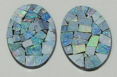 9.61ct Pair Australia Opal Mosaic Doublet Ovals 18x13mm SPECIAL