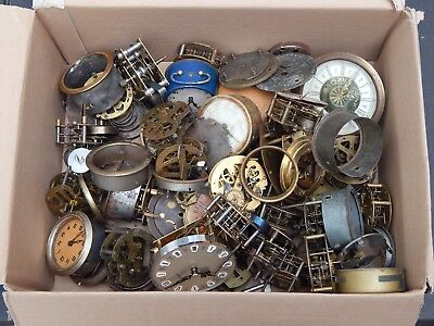 Job Lot of Clocks and Parts - Spares / Repairs - Steampunk Jewellery making?