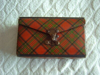 Tartanware Sewing Case - Stuart - French Catch [Brevete Sgdg] - Satin & Leather