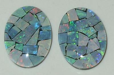 15.57ct Pair Australia Opal Mosaic Triplet Ovals 18x13mm SPECIAL