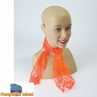 1980's RAVE NEON ORNAGE LACE SCARF One Size FAST POST Womens Fancy Dress