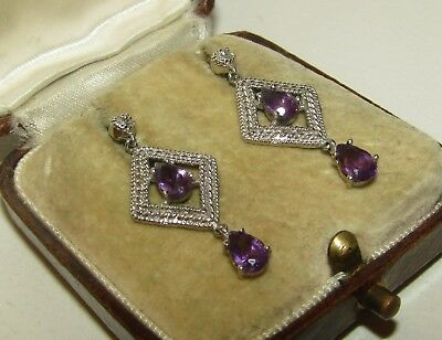 Elegant, Art Deco, 9 Ct White Gold Earrings With Fine Amethyst Gems