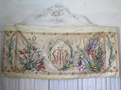 FRANKREICH 19. Jhd. Antique SILK Panel TAPESTRY Tapisserie Wandbehang  french