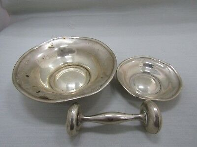 DAMAGED Lot of 3 Sterling Silver Bowls & Baby Rattle SCRAP SILVER