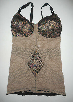 RAGO Shapette Body Slimming Girdle w Bullet Bra NUDE & BLACK LACE Shapewear LG