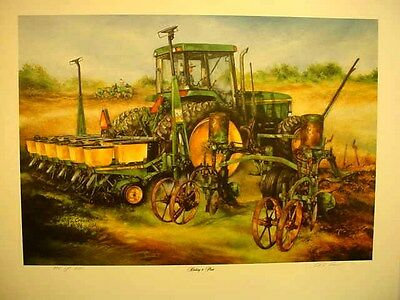 "JOHN DEERE 7800 TRACTOR ART PRINT - ""HITCHIN' TO PLANT"" by R L CROUSE - S/N"