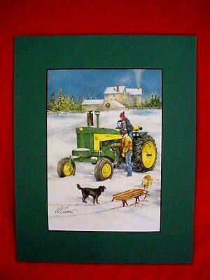 JOHN DEERE 730 DIESEL TRACTOR PRINT - SLEIGH RIDE with DADDY - by CROUSE -