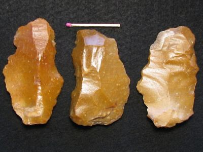 50.000Y.o: 3 Flake Tools Neanderthal Man Flint Stone Age Paleolithic Mousterian
